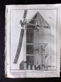 Diderot 1780's Antique Print. Architecture 01 Windmill